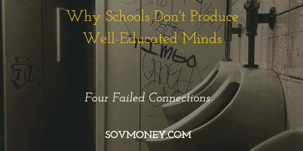 Picture of school bathroom with fixtures and graffiti. Schools Don't Produce Well-Educated Minds