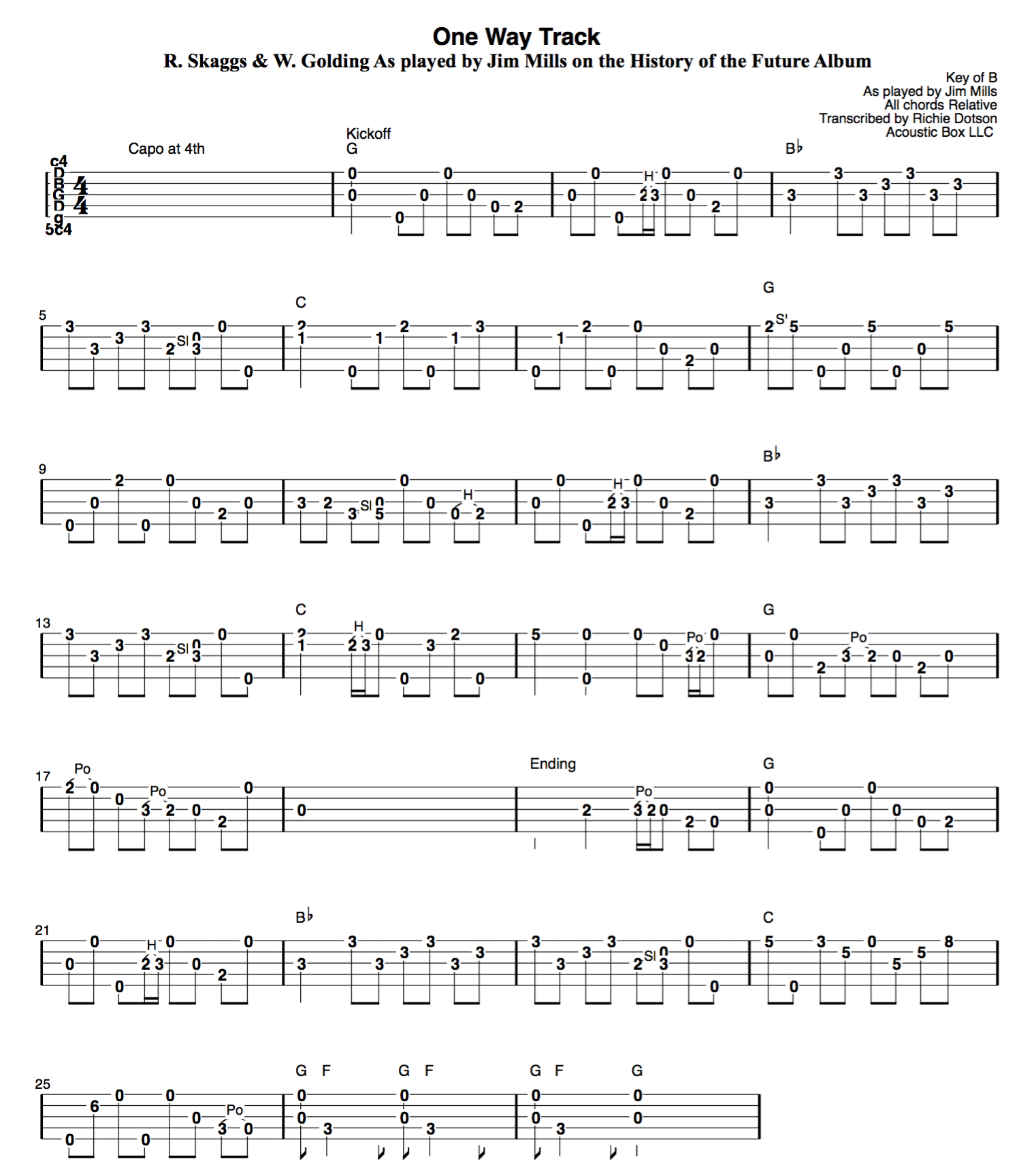 One Way Track Banjo Tablature