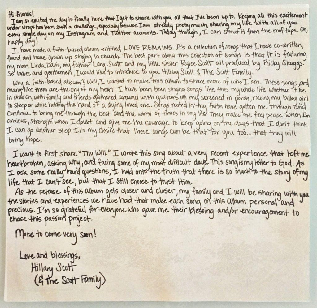Hillary Scott Letter - CountryMusicRocks.net
