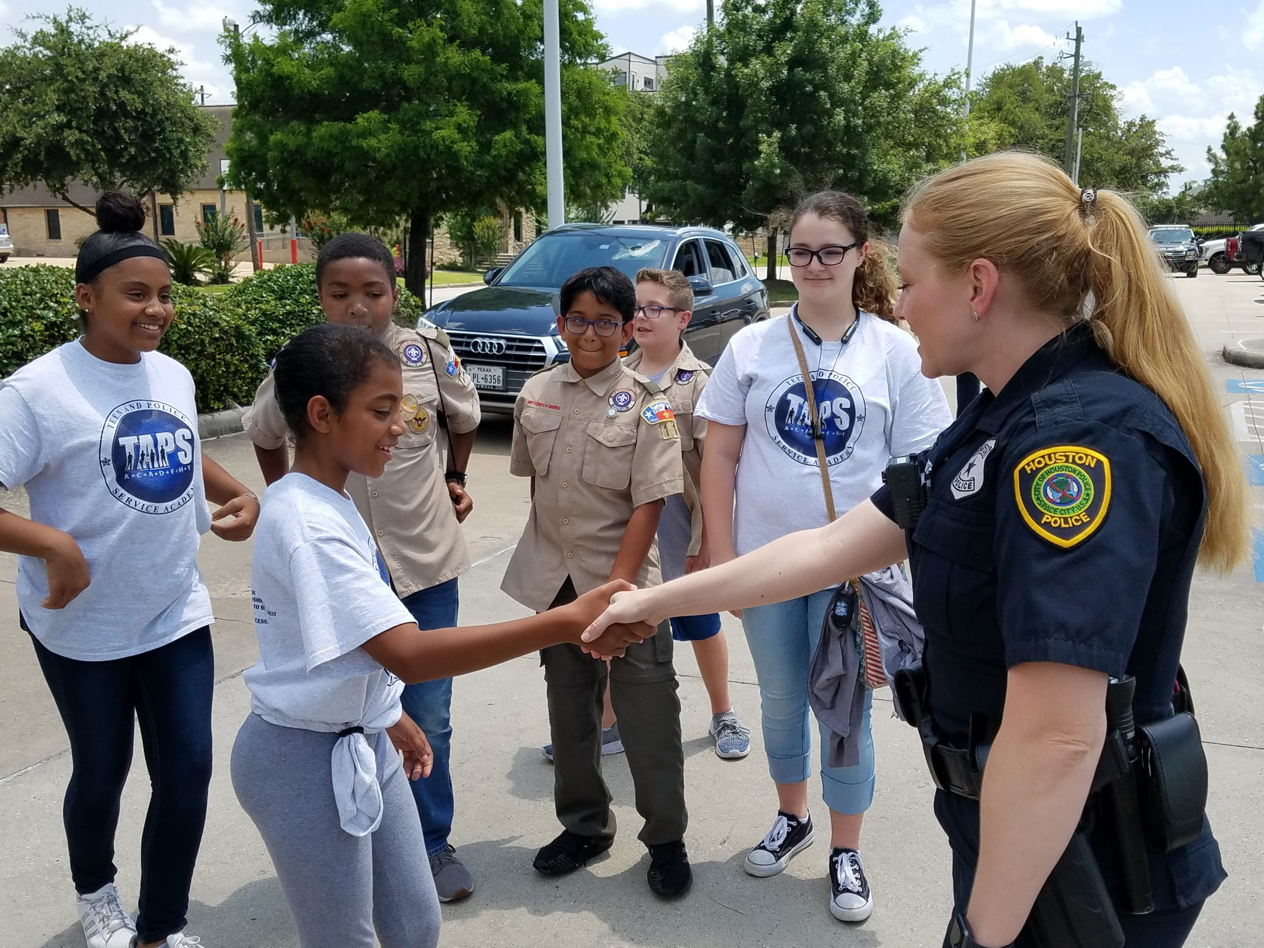 TAPS Academy Teens meeting and working with Houston Police Officer