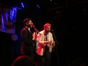 """Montreal Fringe Festival Launch. Leeland Beckman and Walter J Lyng. """"Bring your own waffles."""" Photo Rachel Levine."""