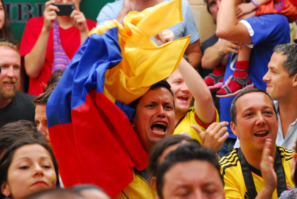 Colombian fans enjoy the ups and suffer the downs of their FIFA World Cup quarter-final match against Brazil, which they lost 2-1. Photo German Silva.
