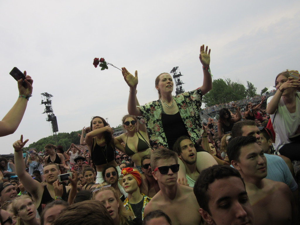 The Crowd After Haim Asked People To Get On Shoulders at Osheaga Festival, Montreal. Photo By Robyn Homeniuk.