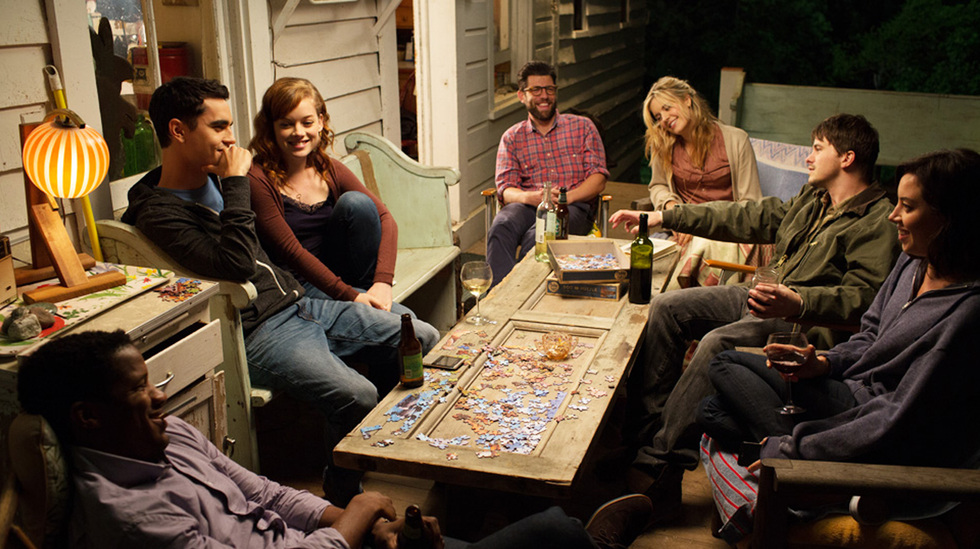Nate Parker, Max Minghella, Jane Levy, Max Greenfield, Maggie Grace, Jason Ritter and Aubrey Plaza in ABOUT ALEX, a levelFILM release. Photo courtesy of levelFILM.