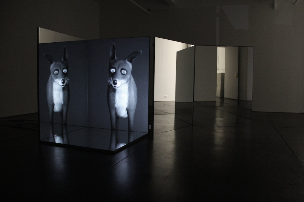 Time Machine, 2011, mirrored box with HD video projection, sound, 11 minutes, English and Danish, installation dimensions variable, mirrored box: 125 x 94 x 94 cm (courtesy of the artist, Murray Guy Gallery, New York, and Paul Andriesse Gallery, Amsterdam; special thanks to Jesper Carlsen for 3D animation, Joshua Mittleman for voice, Stefan Pedersen for sound engineering and the Danish Arts Council for their support)