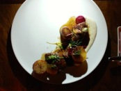 Pork Cheeks with Smoked Roasted Potatoes. Main course at Les 400 Coups. Photo by Annie Shreeve