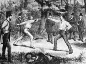 """Godefroy Durand, """"The Code Of Honor—A Duel In The Bois De Boulogne, Near Paris"""", from Harper's Weekly, 1875."""