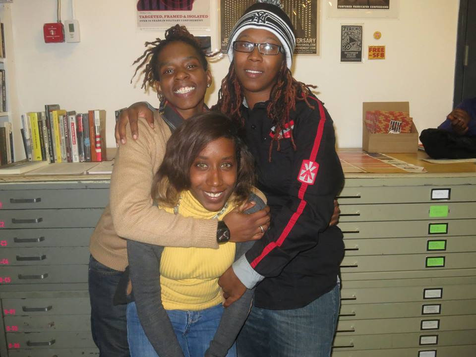 """Terrain, Renata and Patreese after a screening of """"Out in the Night"""" in Brooklyn at the Interference Archive. Photo courtesy of the Facebook page of """"Out in the Night""""."""