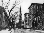 St. Denis street with Université Laval in the background, c. 1897, from the studio of William Notman and Son. Credit: McCord Museum.