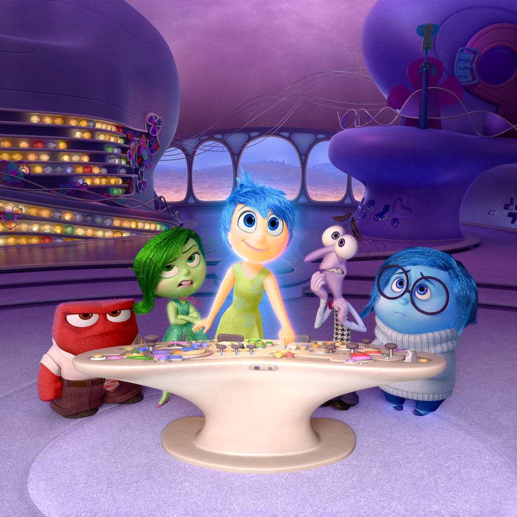 """Still from Disney/Pixar's film """"Inside Out"""". Left to right: Anger, Disgust, Joy, Fear, and Sadness. Photo credit: Disney."""