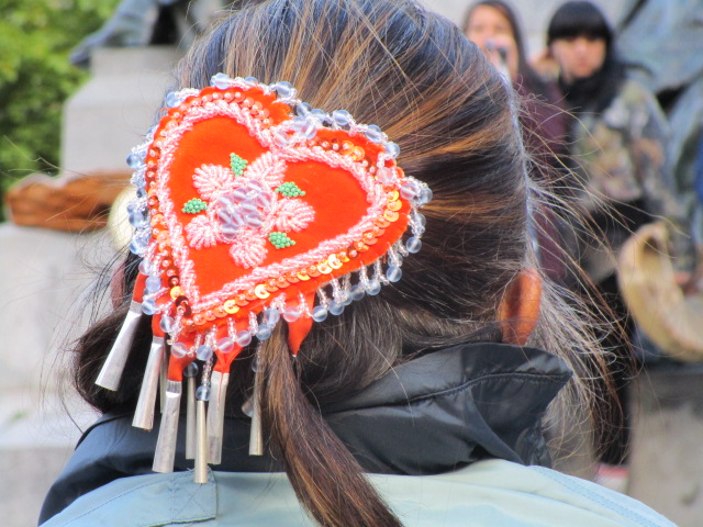 Hair Ornament. Missing and Murdered Aboriginal Women March and Vigil. Photo Rachel Levine