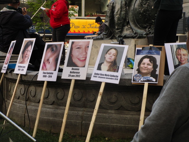 Posters of Victims. Missing and Murdered Aboriginal Women March and Vigil. Photo Rachel Levine