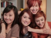 """Screenshot from the web series, """"The Lizzie Bennet Diaries"""". Left to right: Julia Cho (Charlotte), Ashley Clements (Lizzie), Mary Kate Wiles (Lydia), and Laura Spencer (Jane). Photo credit: YouTube."""