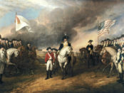 """John Trumbull, """"The Surrender of Lord Cornwallis"""", oil on canvas, 1820. Currently in the US Capitol, Washington DC."""