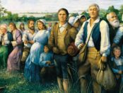 """The Arrival of the Acadians in Louisiana"""" by Robert Dafford, measures 12 x 30 feet."""
