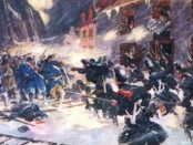 Quebec stands its ground during the Battle of Quebec (1775). Painting by C. W. Jeffreys (1916).