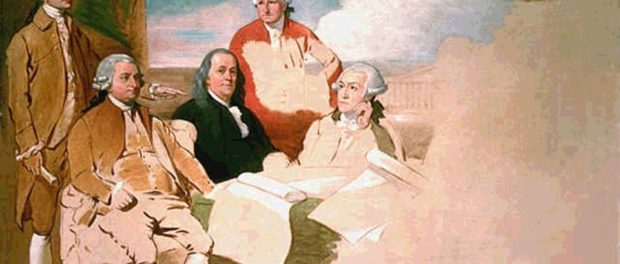 Benjamin West's portraits of the American delegation of the Treaty of Paris. The British refused to sit for the portrait, hence it remains unfinished. Left to right: John Jay, John Adams, Benjamin Franklin, Henry Laurens, and Temple Franklin (Benjamin's grandson).