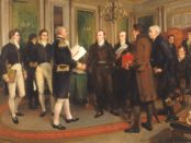 Amédée Forestier's depiction of the signing of the Treaty of Ghent, painted in 1912. Photo credit: Wikimedia Commons.