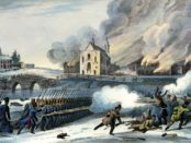 Artistic depiction of the battle of Saint-Eustache by Charles Beauclerk, c. 1840. Credit: Wikimedia Commons