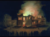 """""""The Burning of the Parliament Building in Montreal"""", c. 1849, oil on wood. Photo courtesy of the McCord Museum (accession number: M11588)."""