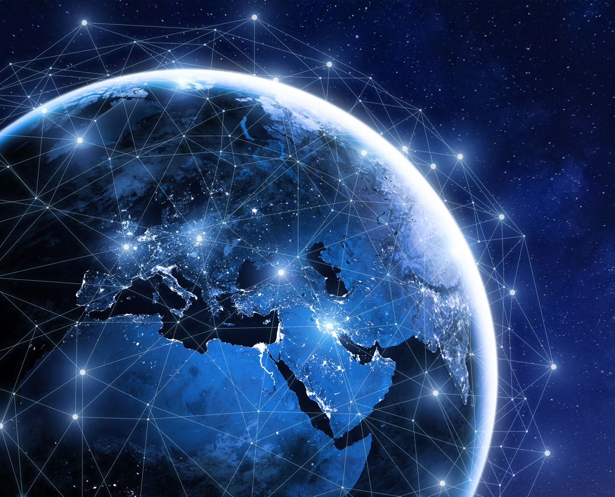 Earth with grid around it on left side WEB