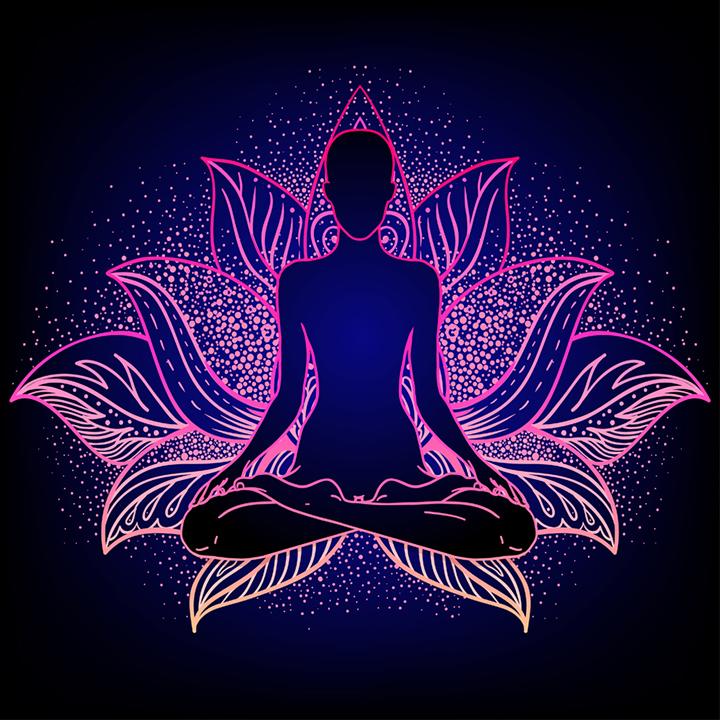 Meditating in pink lotus