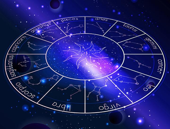 Zodiac star map on blue
