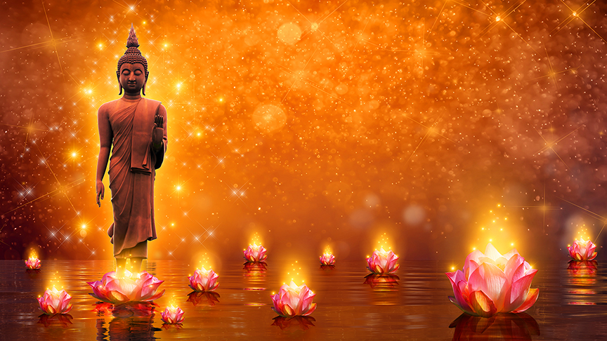 Master Buddha with lights