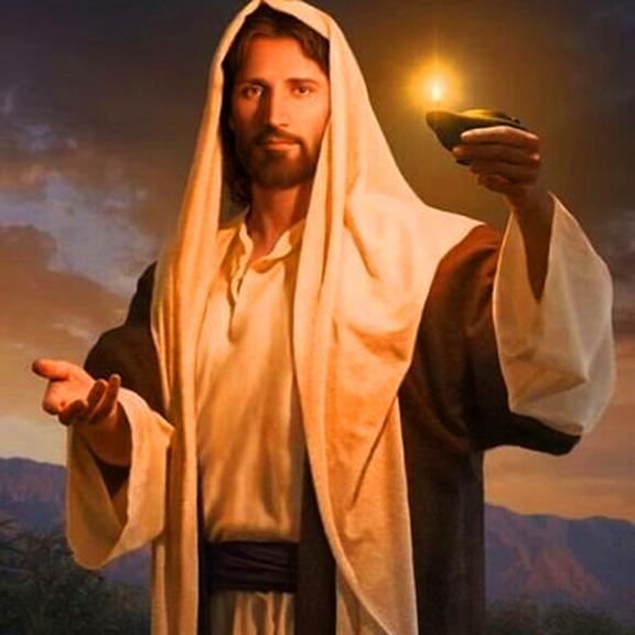 Master Jesus holds up Light