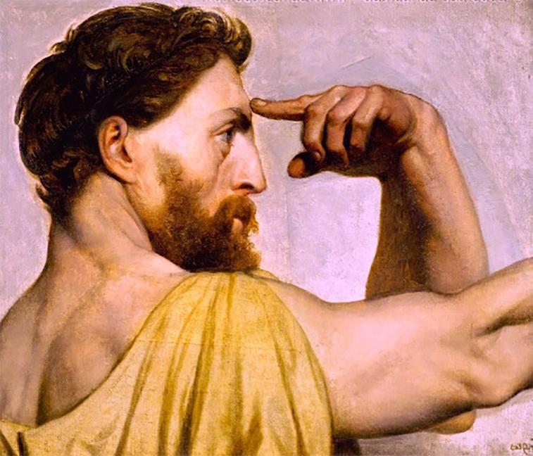 Parmenides touch his head