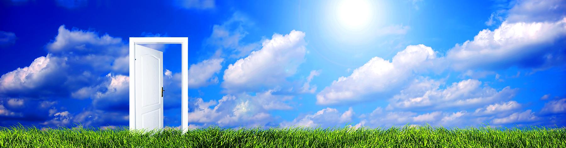 open door blue skies