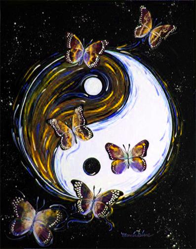 Yin Yang with butterflies
