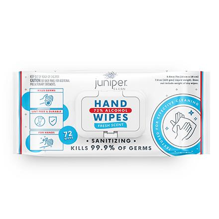 Juniper Clean Hand Wipes 72% Alcohol