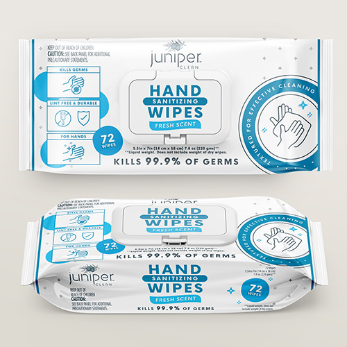 Juniper Clean Hand Sanitizing Wipes Flow Pack