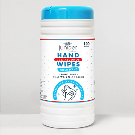 Juniper Clean Hand Sanitizing Wipes with 72% Alcohol
