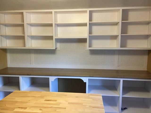 Shelves custom built for a craft making room