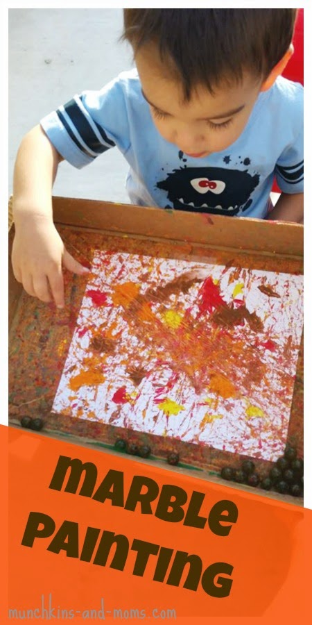 Fall marble painting- a great process art activity for preschoolers!