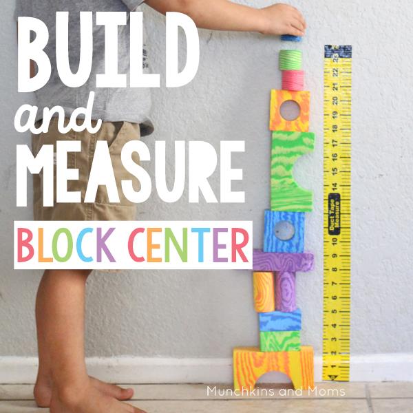 Preschool build and Measure block center | preschool STEM | This measuring tape is a necessity for block centers!