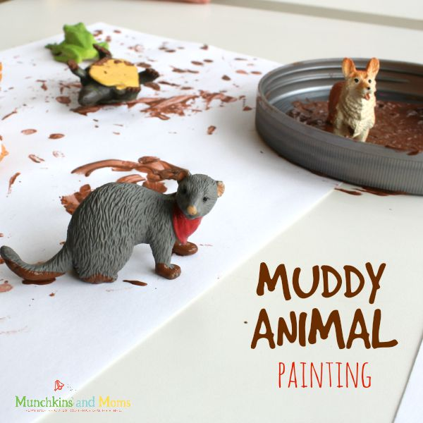 Kids love this messy Muddy Animal painting activity!