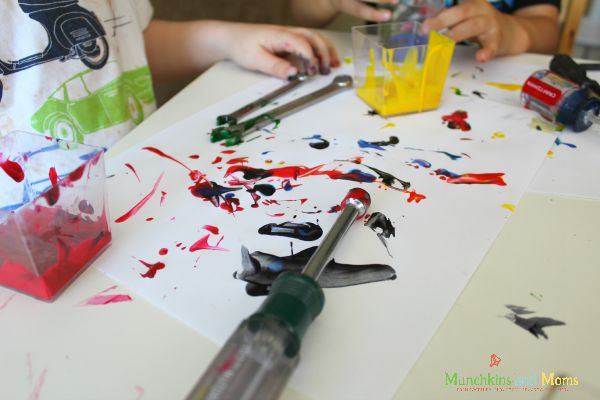 Painting with tools- a great life lesson contained in this simple activity!