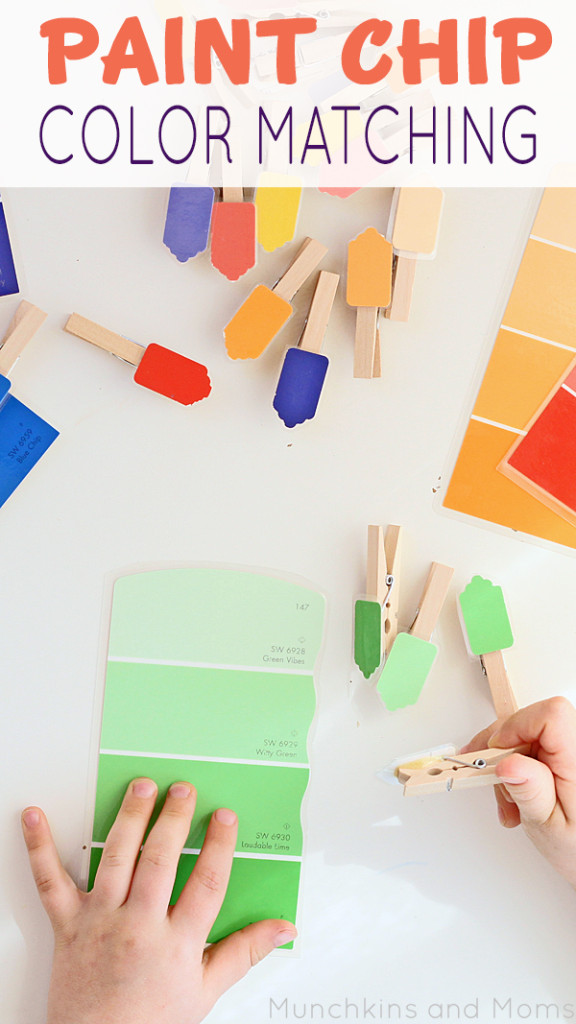 Paint Chip color matching acivity for toddlers.Great activity to keep yoddler busy and still learning!