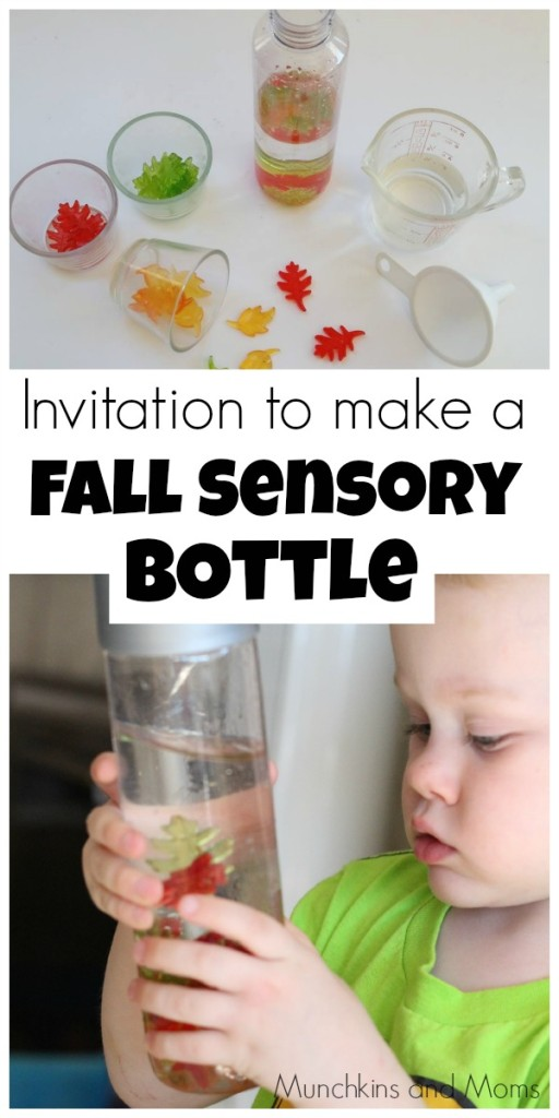Invitation to make a fall sensory bottle. A great preschool project!