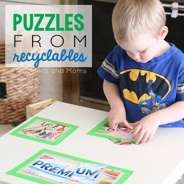 Make simple toddler and preschool puzzles out of recyclables!