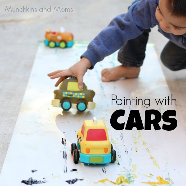 Painting with cars preschool art