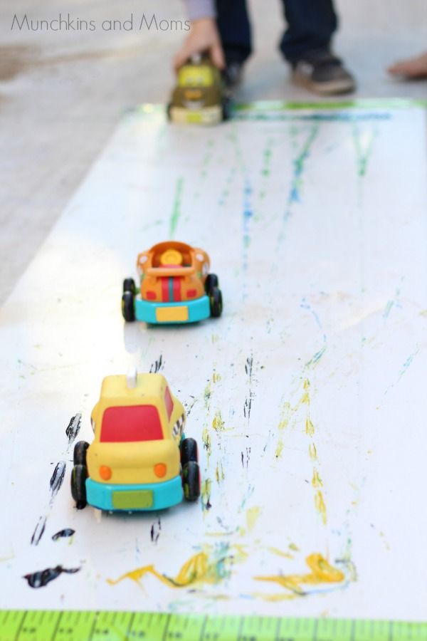 painting with cars- great transportation themed activity!