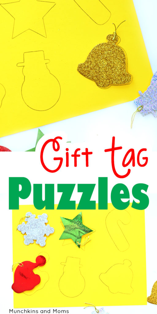DIY gift tag puzzle for a quick and simple preschool game