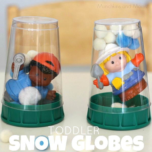 Toddler snow globes -great winter invitation to create!