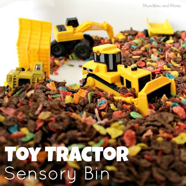 Toy Tractor Sensory Bin