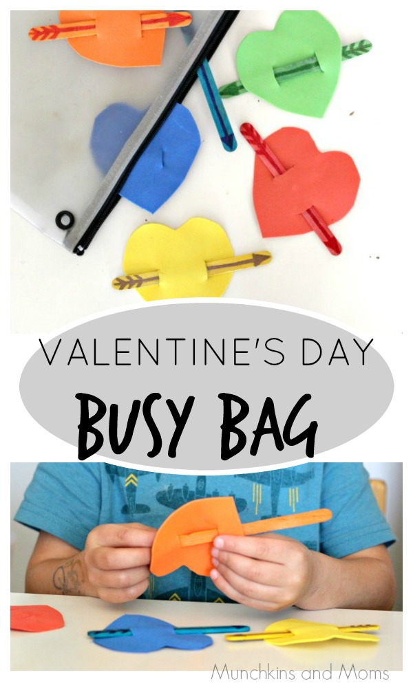 Busy Bag with a valentine heart theme- great for toddlers and preschoolers!