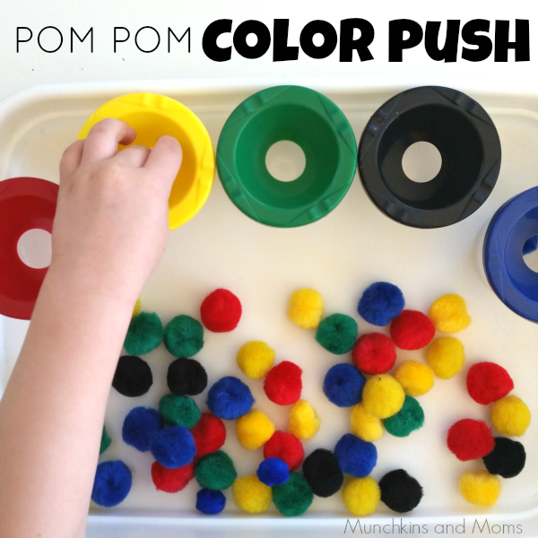 pom pom color push- w fun unique way to sort colors! Gives preschoolers and toddlers fine motor practice as well.